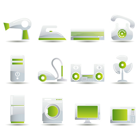 heater: Electrical Appliances Icons Set. Illustration