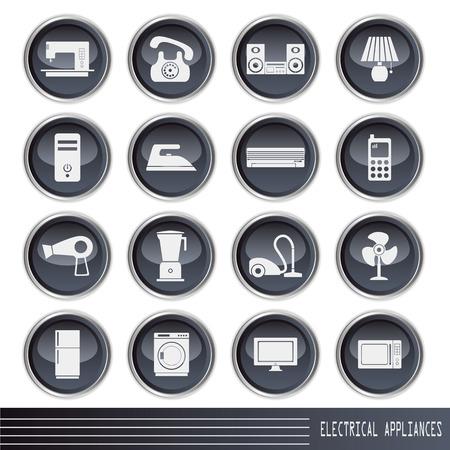 vacuuming: Set di icone apparecchi elettrici. Illustrazione  Vettoriali