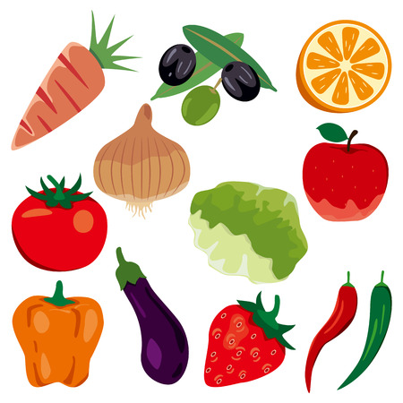 summer vegetable: Foodstuff icons set. Illustration Illustration