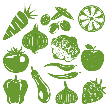 summer vegetable: Foodstuff green icons set. Illustration vector.