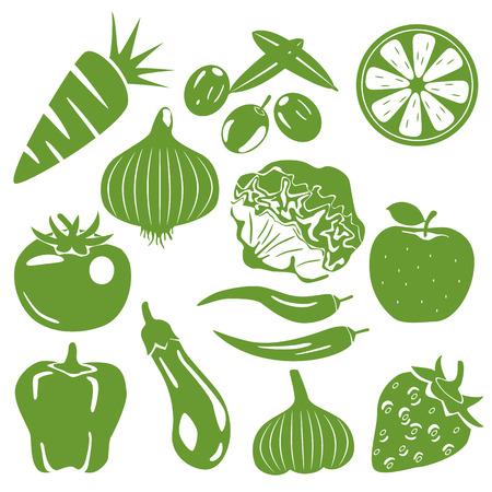 green vegetables: Foodstuff green icons set. Illustration vector.