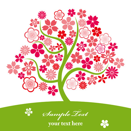 peach tree: Cherry blossoms. Illustration vector.