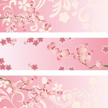 sakuras: Conjunto de banner de cerezos en flor. Vector de la ilustraci�n.