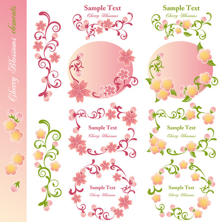 Cherry blossoms design elements. Illustration vector. Vector