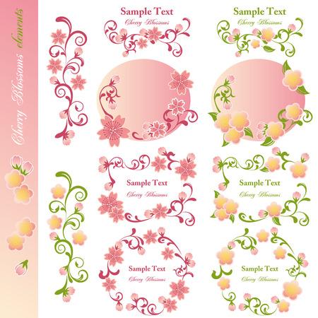 ramo di ciliegio: Fiori di ciliegio elementi di design. Illustrazione vettoriale.