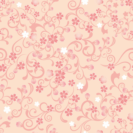 Seamless cherry blossom pattern. Illustration vector.