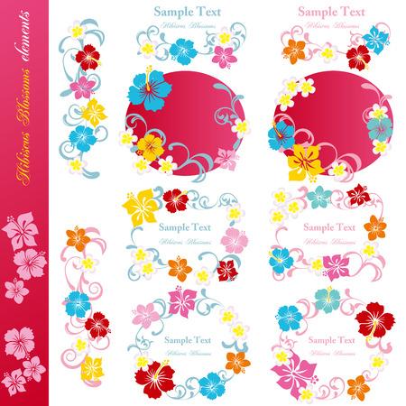 hula: Flores de hibisco dise�an conjunto de elementos. Ilustraci�n