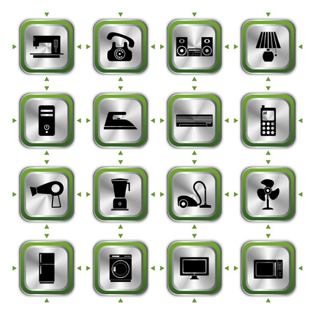 Electrical Appliances Icons Set. Illustration  Vector