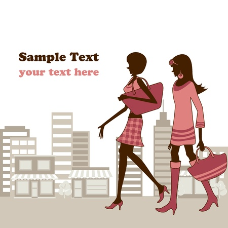 Town women. Illustration vector. Vector
