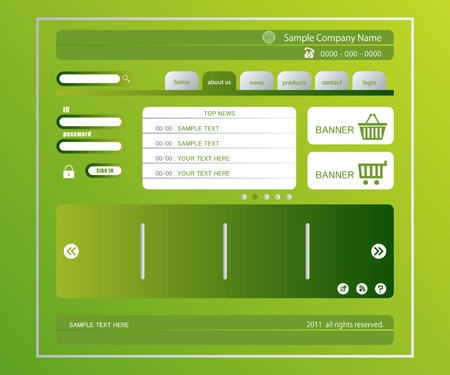 Green website template. Illustration vector. Vector
