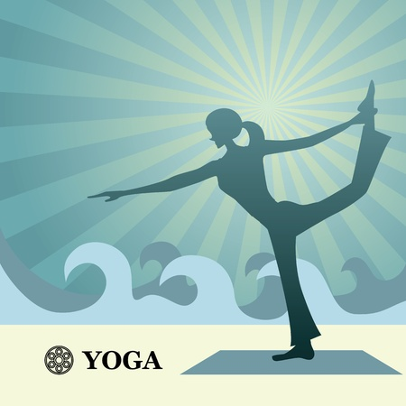 girl pose: Yoga and pilates background. Illustration vector.