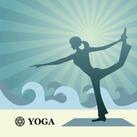 abdominal exercise: Yoga and pilates background. Illustration vector.