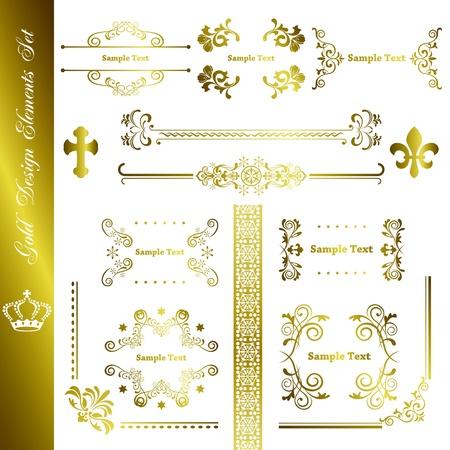 Gold design elements set. Illustration vector. 向量圖像