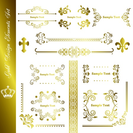 gold floral: Gold design elements set. Illustration vector. Illustration