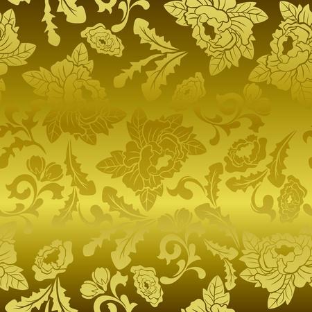 シームレスなゴールド花柄。イラスト ベクトル。  イラスト・ベクター素材