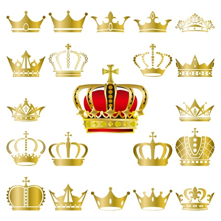 Crown and tiara icons set. Illustration vector. Vector