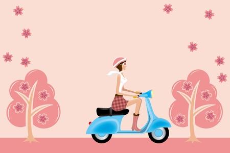 桜の花にスクーターの女の子イラスト ベクトル。