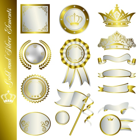 Gold and Silver Elements. Illustration vector.