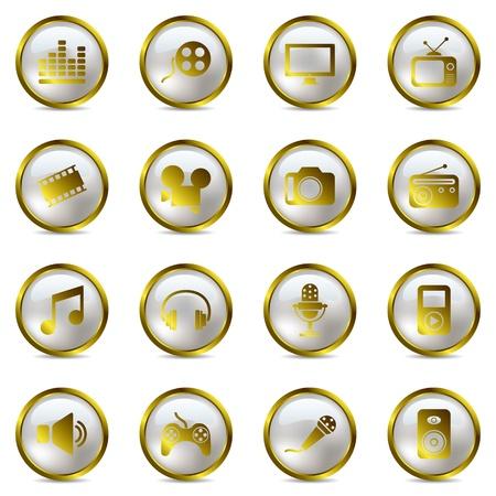 ゴールド マルチ メディア アイコンを設定します。イラスト ベクトル。