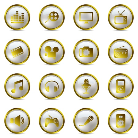 Multimedia gold icons set. Illustration vector. Vector