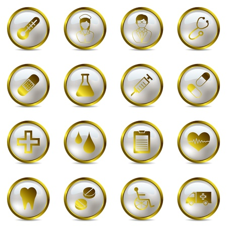 Gold medical icons set. Illustration vector. Stock Vector - 9216169