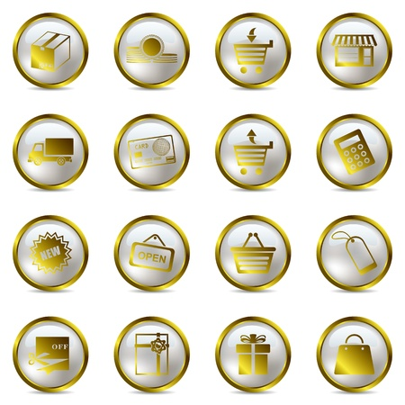 gift basket: Shopping gold icons set. Illustration vector.