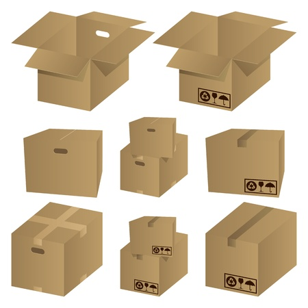 Brown cardboard icons set. Illustration vector. Stock Vector - 9216171
