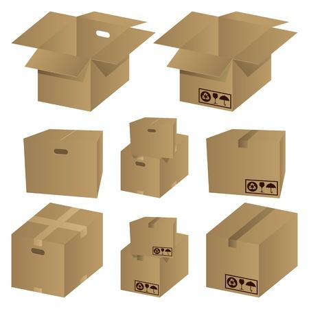stockpiling: Conjunto de iconos de cart�n marr�n. Vector de ilustraci�n.