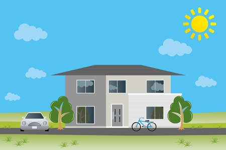 family in front of house: New home. Illustration vector.