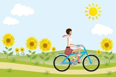 ヒマワリの自転車女の子。イラスト ベクトル。