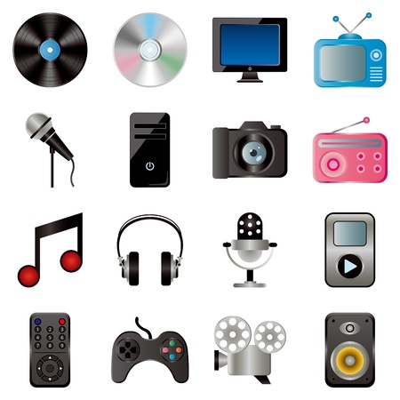 Multimedia icons set. Illustration vector. Vector