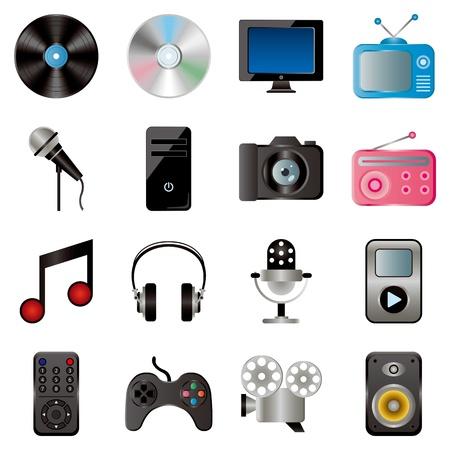 Set di icone multimediale. Illustrazione vettoriale.
