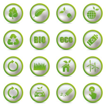 icono ecologico: Conjunto de iconos de eco. Vector de la ilustraci�n. Vectores