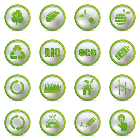 green icon: Eco icons set. Illustration vector.