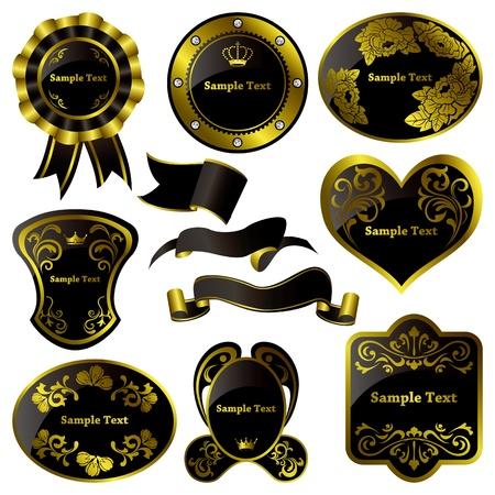 Gold and black luxury frames set. Illustration vector. Vector