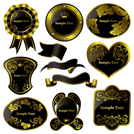 Gold and black luxury frames set. Illustration vector. Vector