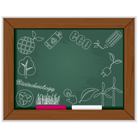 eco friendly: Eco blackboard frame. Illustration vector.