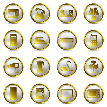 Electrical Appliances Gold Icons Set. Illustration vector  Vector