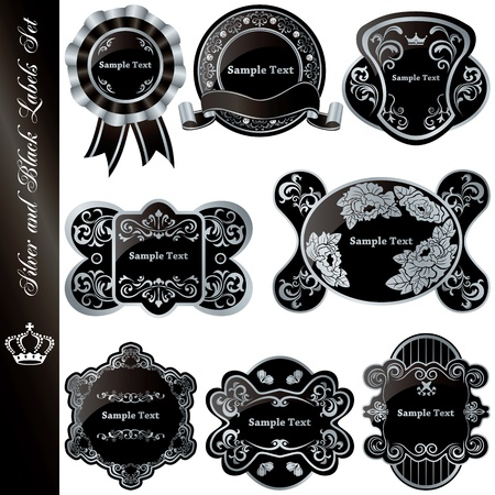 Silver and black luxury frames set. Illustration vector.  Stock Vector - 9265966