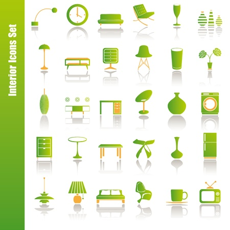 Green interior icons set. Illustration vector. Stock Vector - 9273337