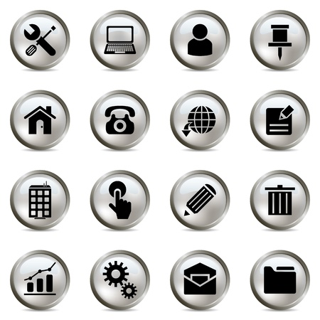 Silver icons set. Illustration vector Vector