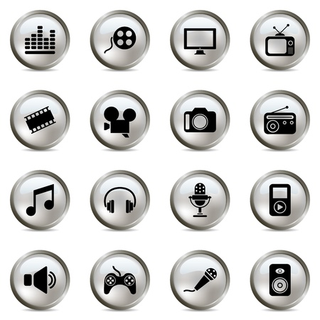 Multimedia silver icons set. Illustration vector Vector