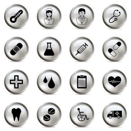 Medical silver icons set Stock Vector - 9273352