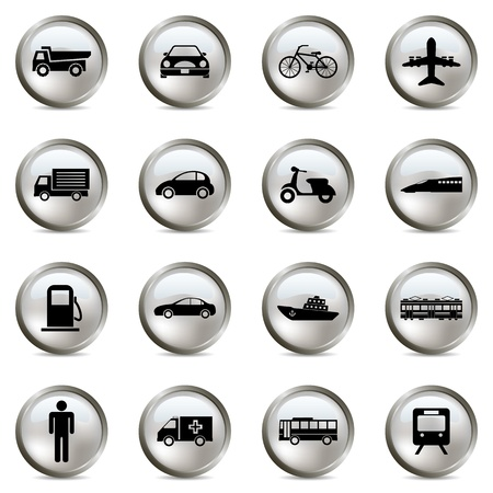 Transportation silver icons set. Illustration vector Stock Vector - 9273329