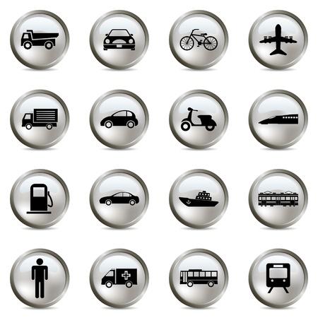 mini bike: Transportation silver icons set. Illustration vector