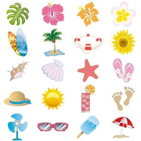 zomer: Zomer icons set. Illustratie vector. Stock Illustratie