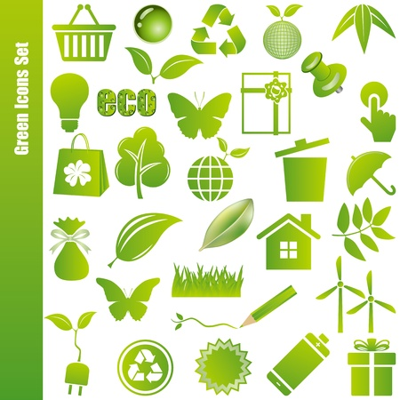 Green icons set. Illustration vector. Stock Vector - 9273367