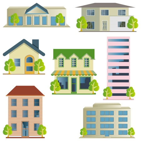 residential neighborhood: Building icons set. Architectures image