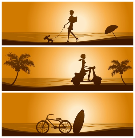 Sunset banner set Vector