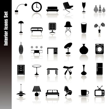 Interieur icons set. Illustratie vector.